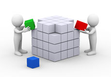 3d people working completing cube box structure design. 3d illustration of people working together to complete box cube design structure.  3d rendering of man Royalty Free Stock Photos