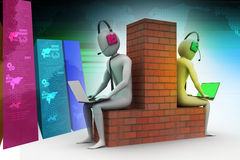 3d people working in laptop. In color background Stock Photo