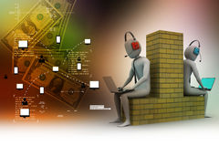 3d people working in laptop. In color background Royalty Free Stock Photos
