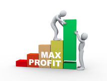 3d people working with max profit bars. Stock Images