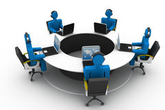 3d people working on office. Roundtable Stock Images