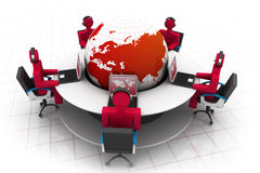 3d people working on office. Roundtable and globe Stock Photo