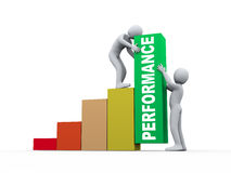 3d people working with performance growth bars. 3d illustration of man helping is partner on performance growth bars for achieving maximum profit in business Stock Image