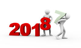 3d people working year 2018 Stock Images
