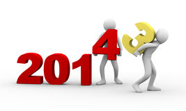 3d people working year 2014 Royalty Free Stock Images