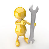 3D people with wrench Royalty Free Stock Photos
