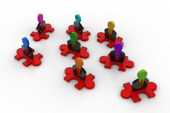 3d peoples icon on the puzzle piece. In white background Royalty Free Stock Photos