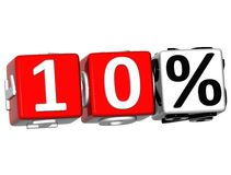 3D 10 Percent Button Click Here Block Text. Over white background Royalty Free Stock Photo