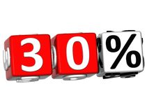 3D 30 Percent Button Click Here Block Text. Over white background Stock Photo