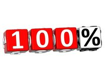 3D 100 Percent Button Click Here Block Text. Over white background Royalty Free Stock Photography