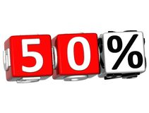 3D 50 Percent Button Click Here Block Text. Over white background Royalty Free Stock Photo
