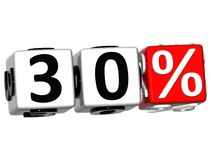 3D 30 Percent Button Click Here Block Text. Over white background Stock Photography