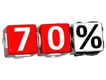 3D 70 Percent Button Click Here Block Text. Over white background stock illustration