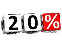 3D 20 Percent Button Click Here Block Text. Over white background Stock Photos