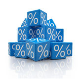 3d - percent cubes - blue. 3d rendering of blue cubes with percent signs on white background (sale concept Royalty Free Stock Image