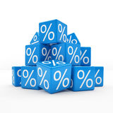 3d - percent cubes - blue. 3d rendering of blue cubes with percent signs on white background (sale concept Royalty Free Stock Photos