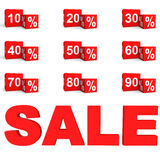 3d percent cubes sale set Royalty Free Stock Images