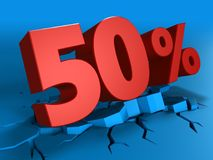 3d of 50 percent discount. 3d illustration of 50 percent discount over blue background Stock Images