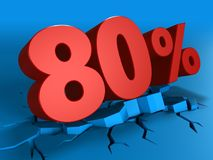 3d of 80 percent discount. 3d illustration of 80 percent discount over blue background Royalty Free Stock Photography