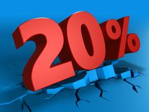 3d of 20 percent discount. 3d illustration of 20 percent discount over blue background Stock Images