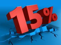 3d of 15 percent discount. 3d illustration of 15 percent discount over blue background Stock Photos