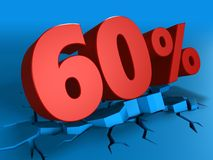 3d of 60 percent discount. 3d illustration of 60 percent discount over blue background Royalty Free Stock Image