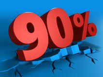 3d of 90 percent discount. 3d illustration of 90 percent discount over blue background Royalty Free Stock Images