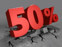 3d of 50 percent discount. 3d illustration of 50 percent discount over concrete background Royalty Free Stock Photos