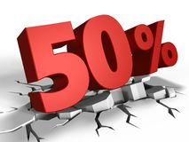 3d of 50 percent discount. 3d illustration of 50 percent discount over white background Stock Image