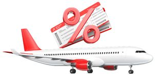 3D Percent or discount Symbol with airline boarding pass tickets over the commercial airplane, passenger plane, 3D. Rendering isolated on white background. As a Stock Image