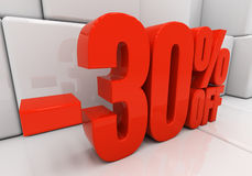3D 30 percent. 30 percent off. Discount 30. 3D illustration Stock Photo
