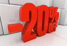 3D 20 percent. 20 percent off. Discount 20. 3D illustration Stock Photography