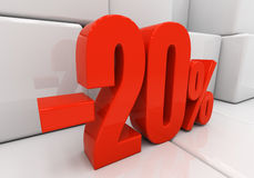 3D 20 percent. 20 percent off. Discount 20. 3D illustration Stock Image