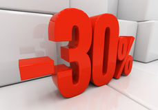3D 30 percent. 30 percent off. Discount 30. 3D illustration Stock Images