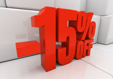 3D 15 percent. 15 percent off. Discount 15. 3D illustration Royalty Free Stock Image