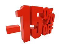 3D 15 percent. 15 percent off. Discount 15. 3D illustration Royalty Free Stock Photography