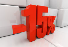 3D 15 percent. 15 percent off. Discount 15. 3D illustration Stock Photo