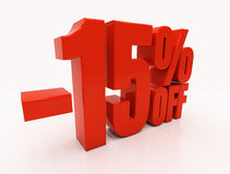 3D 15 percent. 15 percent off. Discount 15. 3D illustration Stock Images