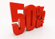 3D 50 percent. 50 percent off. Discount 50. 3D illustration Royalty Free Stock Photo