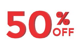 3d 50 percent off on white background. 3d 50 percent off sign Stock Photography