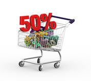 3d 50 percent in shopping cart trolley. 3d illustration of 50 percent in metal shopping cart trolley Royalty Free Illustration