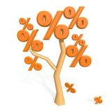 3d percent sign on a tree Royalty Free Stock Image
