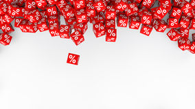 3d percent symbol red cubes Royalty Free Stock Images