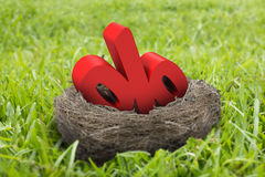 3D percentage sign in nest Stock Photos