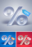 3d percentage symbol with tag on it on different backgrounds Royalty Free Stock Images