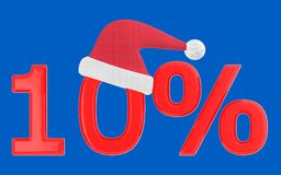 3d 10 percentage , xmas cap. Blue  background - 3d rendering Royalty Free Stock Photos