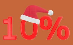 3d 10 percentage , xmas cap. Brown  background - 3d rendering Stock Photography