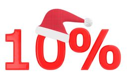 3d 10 percentage , xmas cap. 3d rendering Royalty Free Stock Photos
