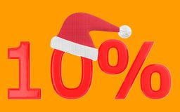 3d 10 percentage , xmas cap. Orange  background - 3d rendering Royalty Free Stock Photo