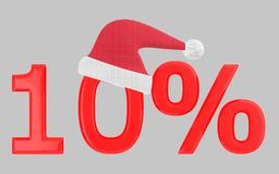 3d 10 percentage , xmas cap. Grey  background - 3d rendering Royalty Free Stock Photo